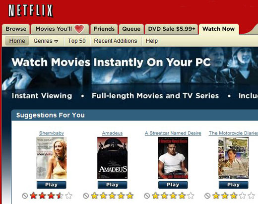 Netflix Watch Instantly movie streaming over the internet